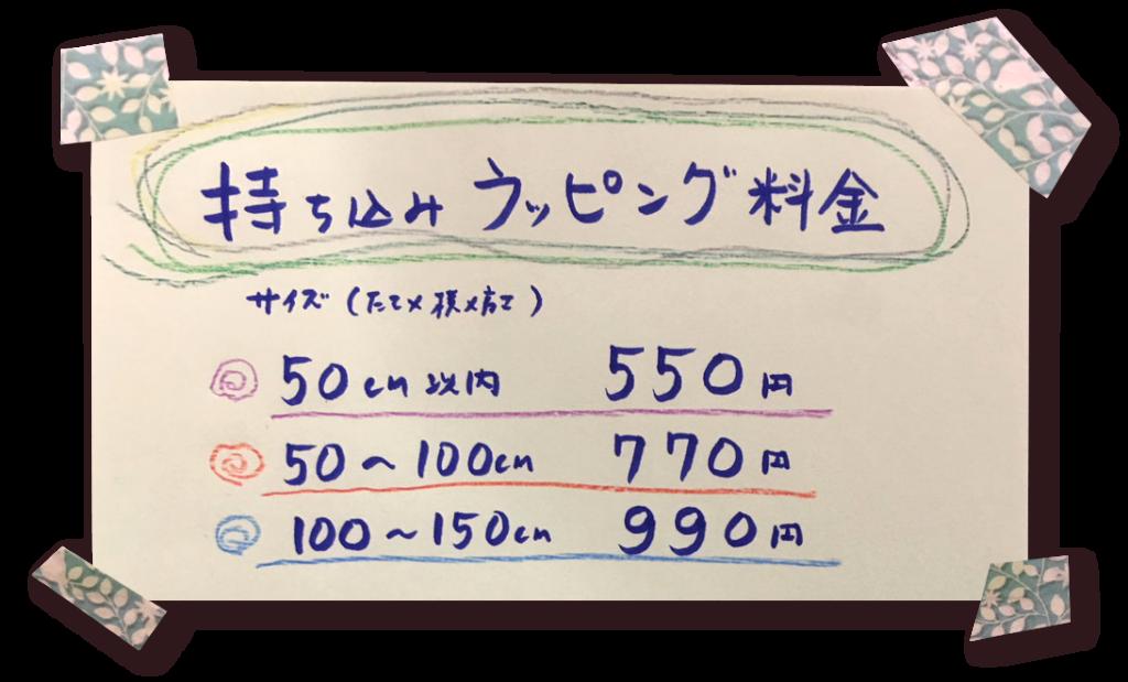 アヴァンセのラッピング料金表